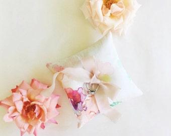 Silk watercolour ring cushion - blush pink ribbon