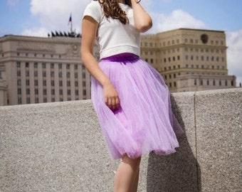 Tulle skirt (4 layers+lining) fixed waistband with hidden zipper (color - 13 Roze quartz)