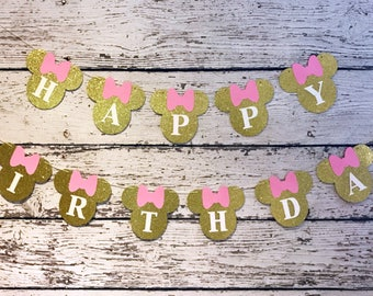 Mini Mouse Happy Birthday Banner - Pink Gold Banner
