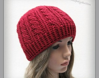 Cable hat - red crochet hat with cable design - beanie hat - crochet beanie - red womens hat - textured hat