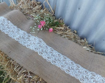 30cm x 3.05m Burlap and White Lace Table Runner