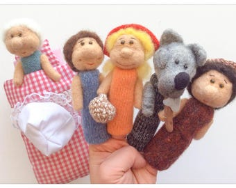 "Finger puppets ""Little Red Riding Hood"" wool / a finger puppet little Red Riding Hood"