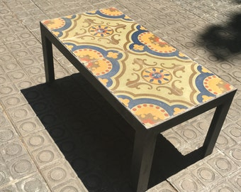 Table, table hydraulic mosaic recovered model