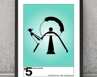 Iconic design print, Tea Rex Kettle print, Kitchen art, Kitchen print, Kitchen wall decor, Kitchen poster, Iconic design art