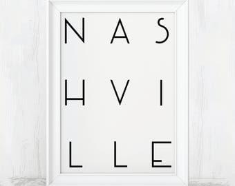 Nashville Poster, Nashville Print, Nashville, Nashville Art, Nashville TN, Nashville Wall Art, Nashville Tennessee, Nashville Sign, Design