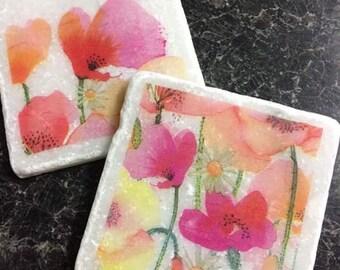 Waercolour Flowers! Set of 2 Marble Coasters