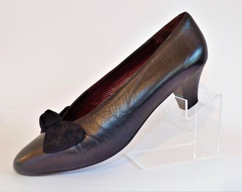 Grenson Black Leather Court Pumps Shoes with Suede Bow/Medium Heel Shoes/ Size UK 5.5/Retro Shoes/1980's