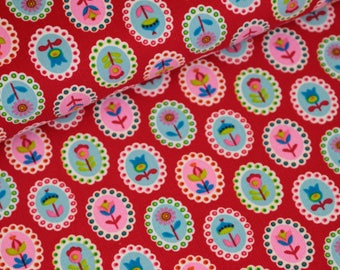 Corduroy Pauline flowers red stained (16,50 EUR / meter)