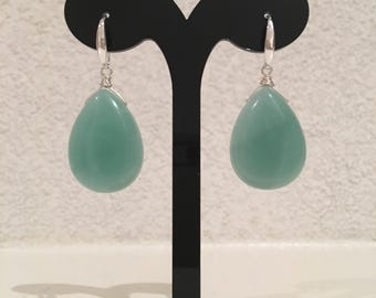 SilsJewels handmade Amazonite gemstone earrings with sterling silver.