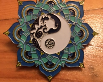 Tribal Yin and Yang Mandala Hat Pin