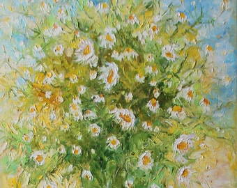 Original oil painting, chamomile flowers