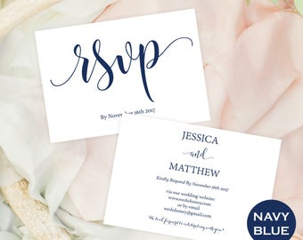 Wedding rsvp postcard  - RSVP Navy Wedding - rsvp insert template - editable rsvp - navy - rsvp enclosure - Downloadable wedding #WDH303_7