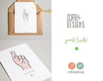 Sales now -50% Postcard to say Good Luck | Fingers crossed | quatrefoil | cloverleaf | Say it with a gesture | Printable | Download & print!