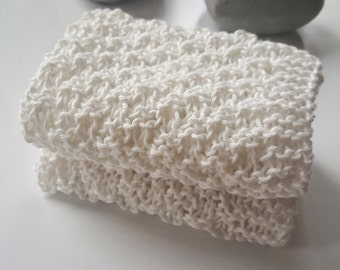 Set of two white cotton cloths, wash cloths, dish cloths, natural cloths, white dish cloths, natural materials, hand made dishcloths