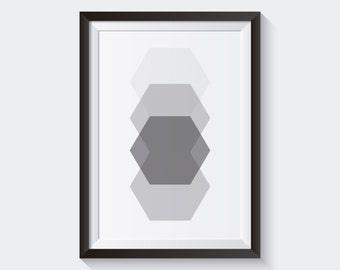 Hexagon Print, Geometric Wall Art Home Decor, Minimalist Print, Hexagon Wall Art, Light Grey, White, Geometric Print