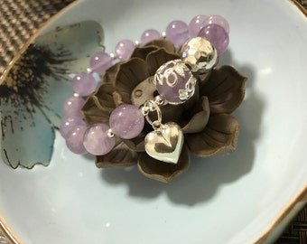 Exclusive Designed Natural Lavender Amethyst Quartz Crystal bracelet