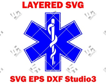 EMS Star of Life - EMT Logo - Medic Alert- Cutting File SVG, eps, dxf, and Studio3 - Cricut, Silhouette Cameo Studio- Instant Download