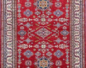 149 x 211 cm High quality stunning hand knotted kazak rug 100 Percent best wool