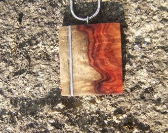 Magnifying glass of amboine red pendant and Silver 925