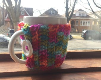 Colorful Coffee Mug Cozy | Coffee Mug | Crochet Coffee Cozy