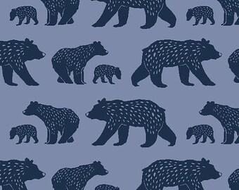 Modern Organic Fabric- Blue Bear Cotton Fabric- Woodland- Monaluna Organic, Bear Family, By the Yard, Woodsy