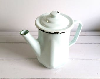 Retro enamel coffee/tea pot light green