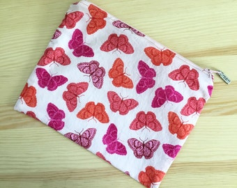 Lined Zipper Pouch in Light Pink with Butterflies