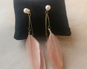 Dusky Pink Feather Pearl Gold Chandelier Earrings