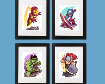 Avengers Wall Art - Set of 4 Prints (Iron Man, Thor, Hulk and Captain America)