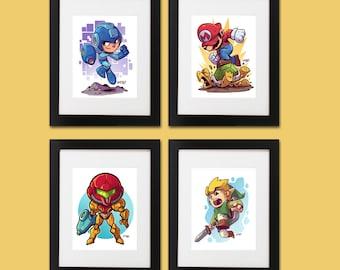 Gamer Wall Art - Set of 4 Prints (Link, Mega Man, Super Mario, Metroid)