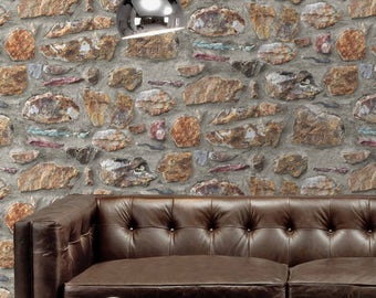 Stone Photo Realistic Brick Effect Wallpaper Browns
