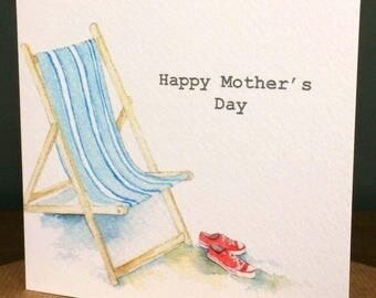 Mother's Day Deckchair Card taken from an Original Watercolour / Notelets / Mother's Day Cards / Thank you Cards / Blank Cards
