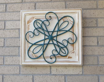 Iron Scroll Design and Wood Wall Decor, Shabby Chic