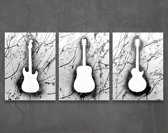 guitar // custom original paintings // modern triptych // music art // guitar painting // metallic large wall art // guitar silhouette