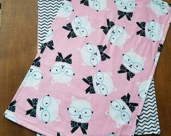 "Soft Flannel Stylish Kitty with Glasses and Black Chevron Baby Burp Cloth // Measures Approx. 17""X12"""