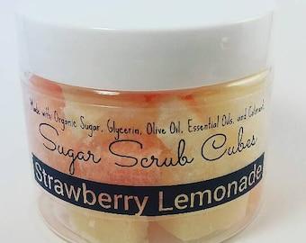 Sugar Scrub Cubes in Strawberry  Lemonade  Scent (4 oz Jar)