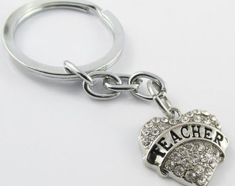 Rhinestone Teacher Heart Charm Keychain Keyring 76mm (KC061)