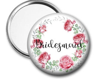Blooms Bridesmaid  58 mm 2.5 inch Pocket Mirror