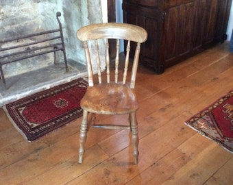 A Victorian Beech Spindle Back Kitchen Chair