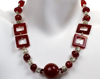 """Mod Carnelian with Pewter LAINE HOADLEY  23"""" Necklace"""