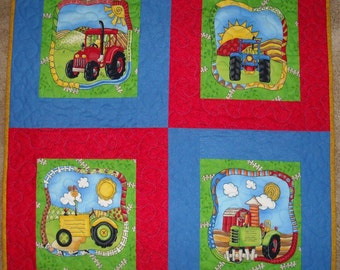 "New handcrafted ""Tractors"" baby quilt, 4 bright colored tractors, made in USA"