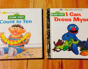 Vintage First Little Golden Books/I Can Dress Myself and Count to Ten/Sesame Street characters/1980's/children's learning books/CLEARANCE