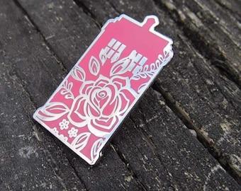 Floral Tardis pin, pink tardis pin, tardis pin, doctor who pin