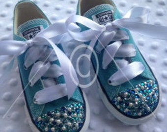 Bling Teal Converse, embellished with Swarovski Crystals & Pearls with Satin Ribbon.