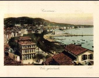 Near Mint ~ CANNES Alpes Maritimes, Birdseye View of Seaside Buildings, Hand-Painted