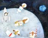 Dachshund Astronaut Art Print | Dog Wall Art | Kid's Room Decor | Children's Illustration