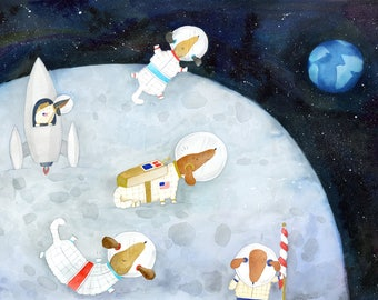 Dachshund Astronaut Art Print   Dog Wall Art   Kid's Room Decor   Children's Illustration