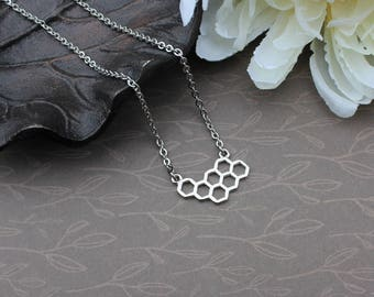 Honeycomb necklace, silver honeycomb, honeycomb pendant, minimalist jewelry, geometric