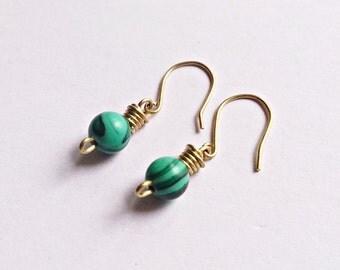 Malachite Earrings, Malachite, dainty earrings,Gift for her, Elegant,Silver Earrings,Malachite,Simple jewelry,Malachite jewelry,Gift ideas