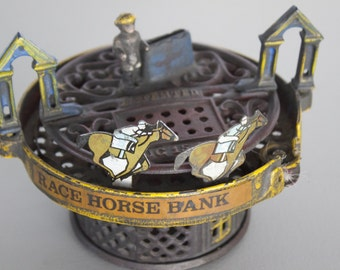 Vintage Cast Iron Reproduction of a John Hall The Horse Race Bank patented on August 15, 1871